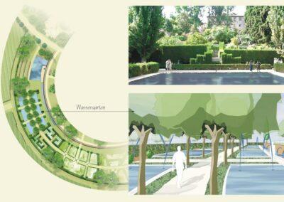 Plan einer Freianlage mit Schwimmteich von Hubert Wendler