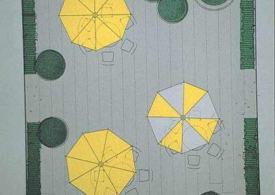 Plan eines Gartens mit Sonnenschutz